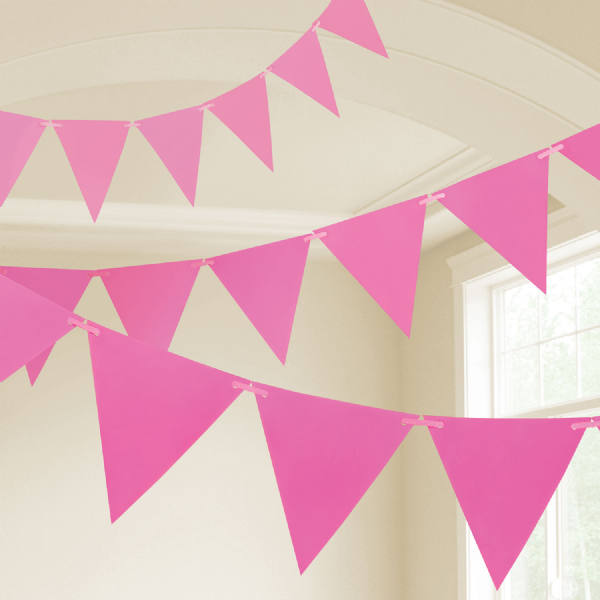 Bright Pink Plastic Pennants 10m